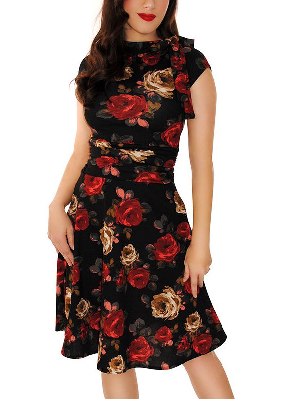 Women's Roses Bombshell Dress by Retrolicious