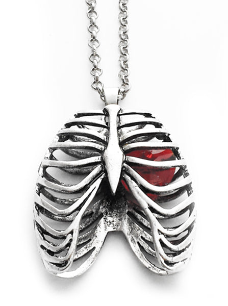 Anatomical Rib Cage Necklace with Crystal Heart by Queen of Jackals