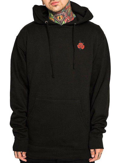 "Men's ""Red Rose"" Pullover Hoodie by InkAddict (Black)"