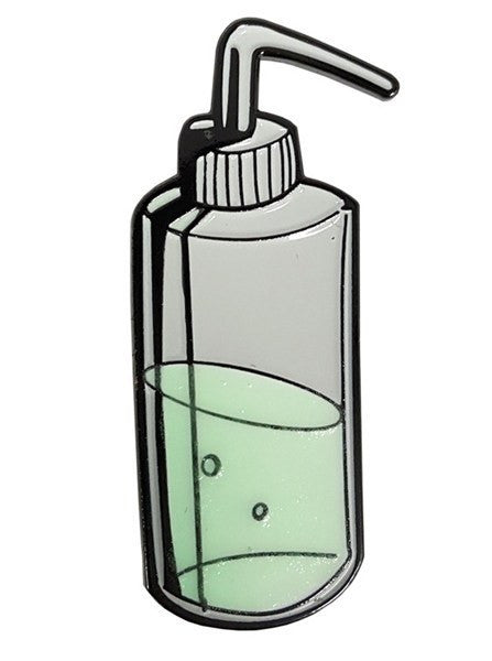 """Green Soap"" Metal Enamel Pin by Steadfast Brand (Glow-in-the-dark) - www.inkedshop.com"