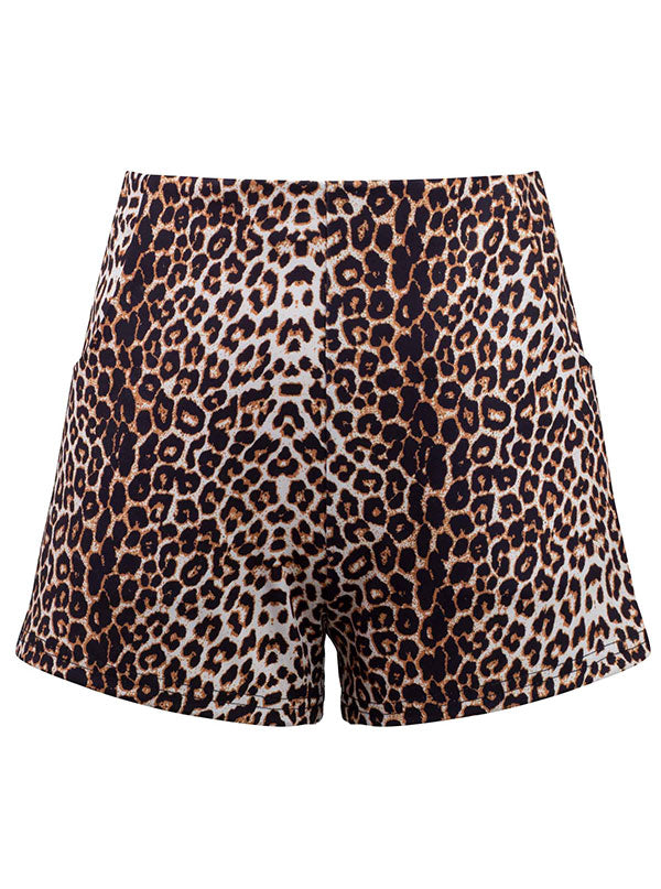 Women's Leopard High Waist Shorts by Double Trouble Apparel