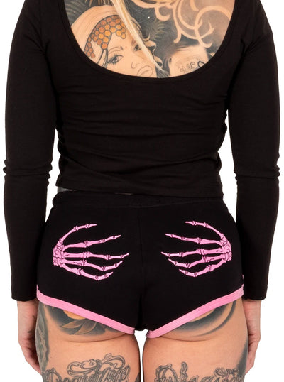 Women's Skeleton Hands Short Shorts by Too Fast