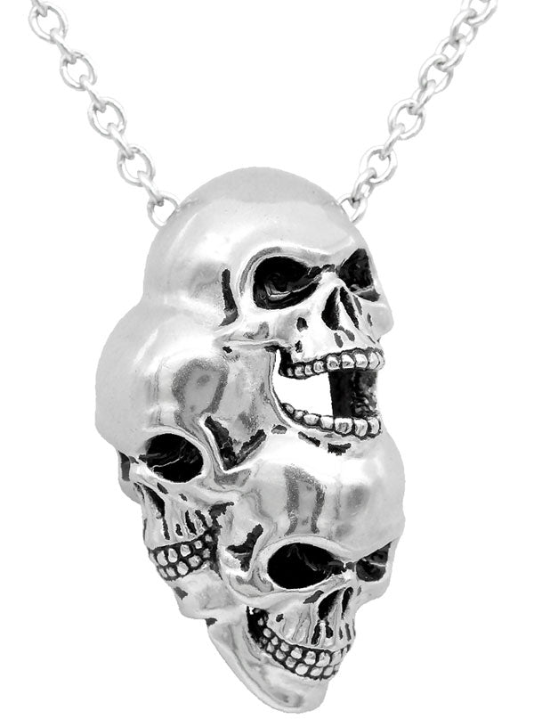Three Headed Skull Necklace by Controse