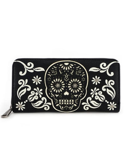 """Sugar Skull"" Wallet by Loungefly (Black/White)"