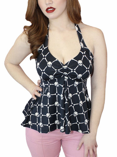 Women's Skull Baby Peplum Halter Top by Demi Loon