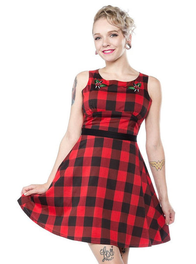 "Women's ""Flower Buffalo Plaid"" Dress by Sourpuss (Red) - www.inkedshop.com"