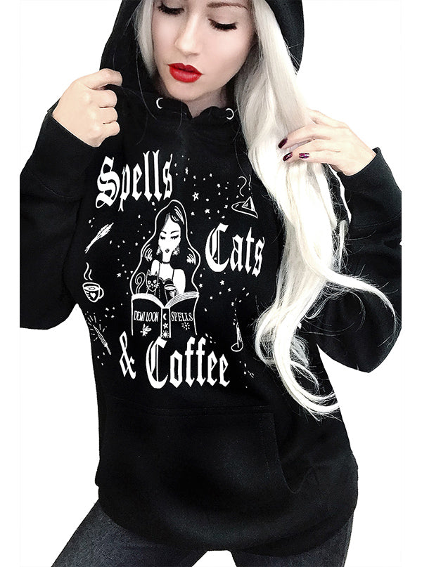 Women's Spells Cats and Coffee Hoodie by Demi Loon