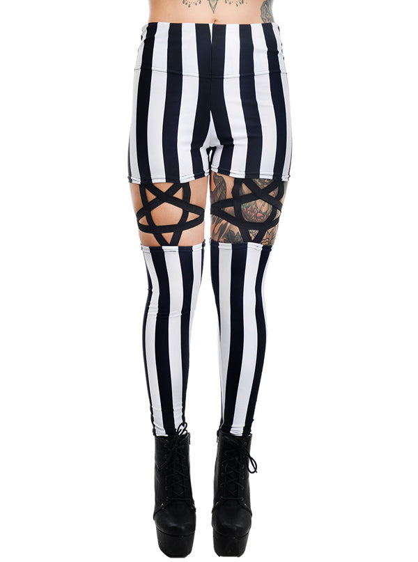 Women's Stripe Pentagram Garter Leggings by Rat Baby