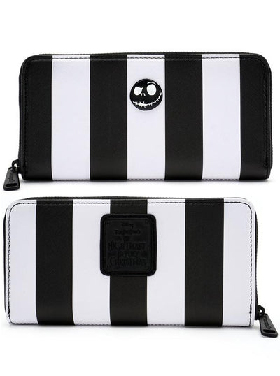 """Nightmare Before Christmas"" Striped Wallet by Loungefly (Black/White)"