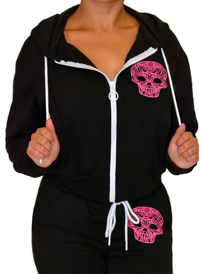 Women's Sugar Skull Sweatsuit by Pinky Star