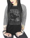 "Women's ""Kiss Of The Wolfman"" Raglan Tee by Serpentine Clothing (Black/Grey)"