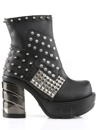 "Women's ""Sinister-64"" Vegan Leather Ankle Boot by Demonia (Black)"