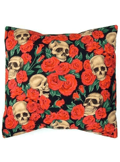 Skulls and Roses Pillow Cover by Hemet