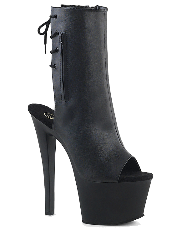 "Women's ""Sky-1018"" Faux Leather Ankle/Mid-Calf Boot by Pleaser (Black)"