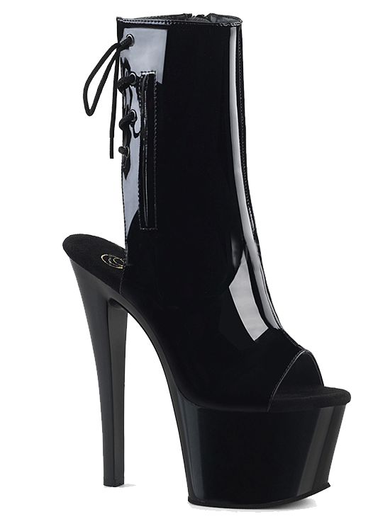 "Women's ""Sky-1018"" Patent Leather Ankle/Mid-Calf Boot by Pleaser (Black)"