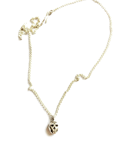 Small Skull Pendant Necklace by Lugdun Artisans (Sterling Silver)
