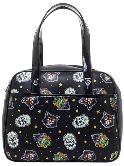 "Women's ""Halloween Mask"" Bowler Purse by Sourpuss (Black)"