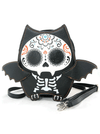 """Sugar Skull Bat"" Crossbody Bag (Black)"