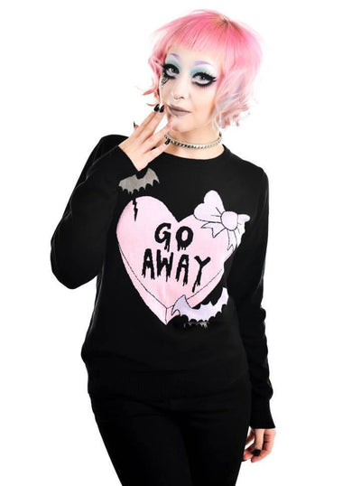 "Women's ""Creepy Love Hearts"" Cult Sweater by Rat Baby (Black) - www.inkedshop.com"