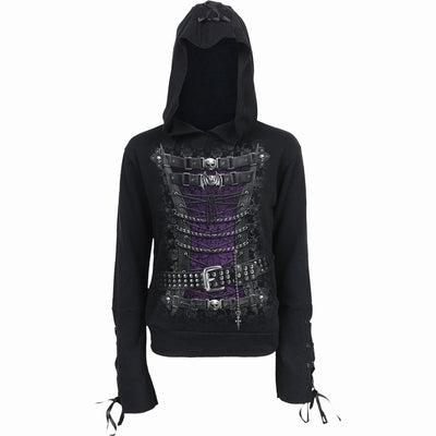 WAISTED CORSET - Black Ribbon Gothic Hoody Black