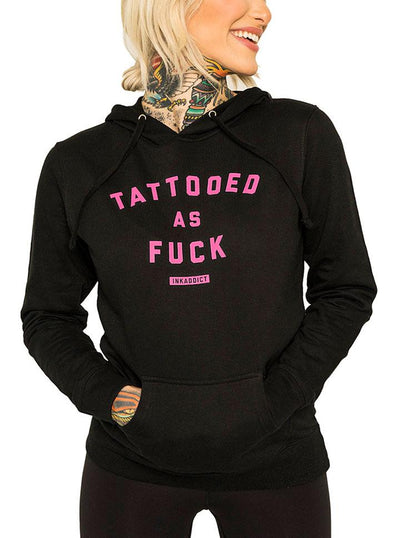 "Women's ""Tattooed As Fuck"" Black Pullover Hoodie by InkAddict (More Options)"