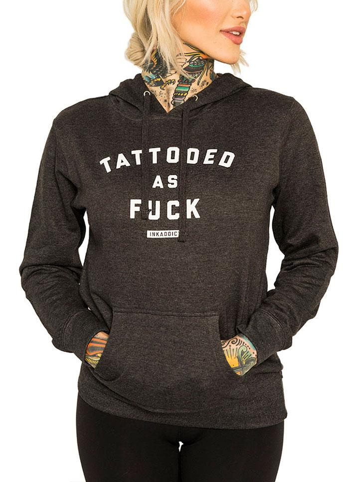 Women's Tattooed As Fuck Charcoal Pullover Hoodie by InkAddict (More Options)