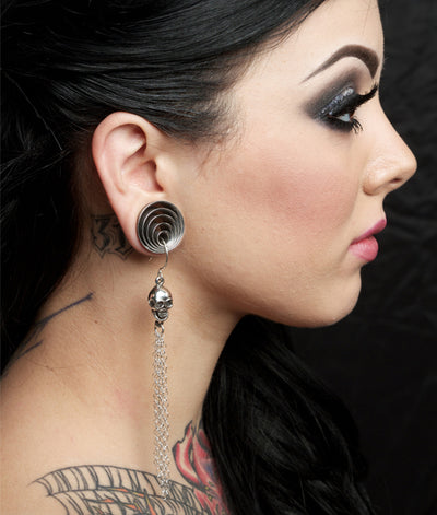 Skull Tassel Earrings by Femme Metale