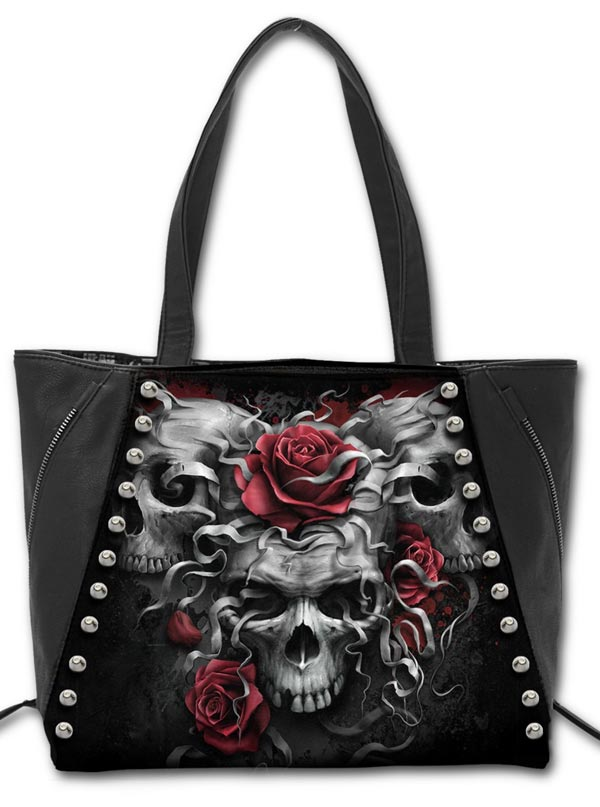 Quot Skulls N Roses Quot Tote Bag By Spiral Usa Black Inked Shop