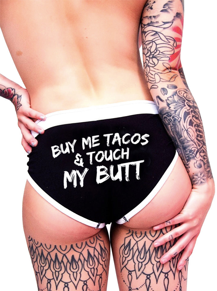 "Women's ""Buy Me Tacos"" Boy Briefs by Inked (Black)"