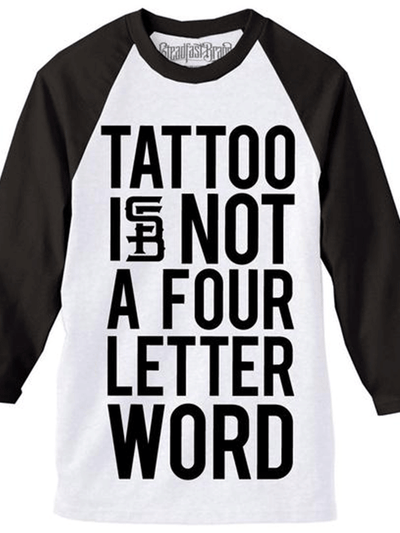 Men's Four Letter Word Baseball Tee by Steadfast Brand (White/Black)