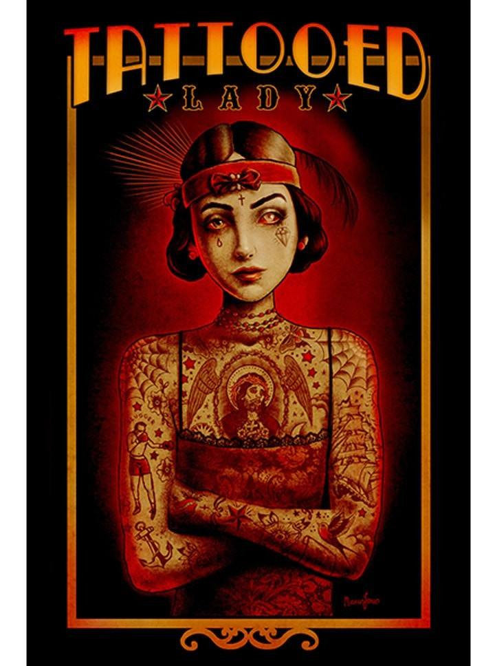 """Tattooed Lady"" Print by Marcus Jones for Black Market Art - www.inkedshop.com"