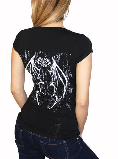 Women's Gothic Vamp Corset Tee by Demi Loon (Black)