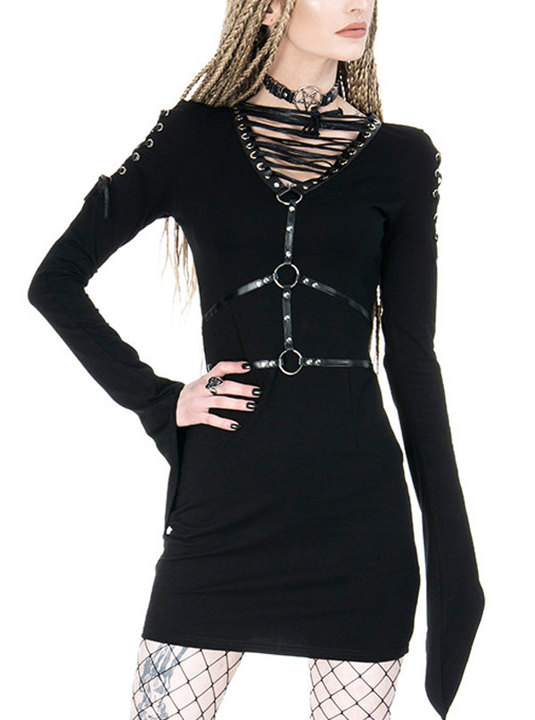 Women's Venom Harness Dress by Restyle (Black)
