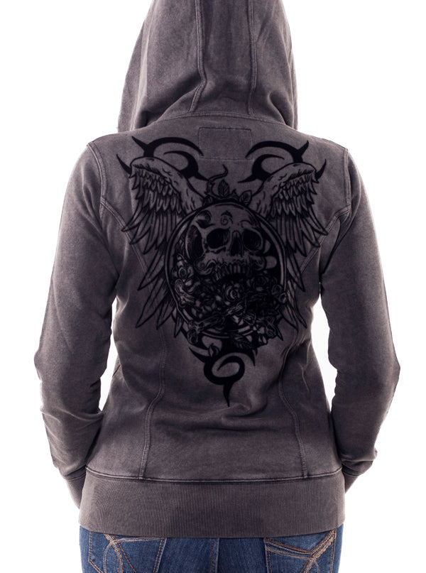 "Women's ""Vintage Crossbones"" Zip Up Hoodie by Lethal Angel (Grey)"