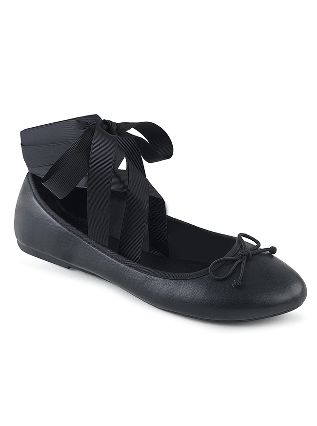Drac 03 Mary Jane Ballet Flats by Demonia (Black Vegan Leather)