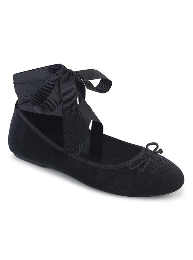 Drac 03 Mary Jane Ballet Flats by Demonia (Black Velvet)