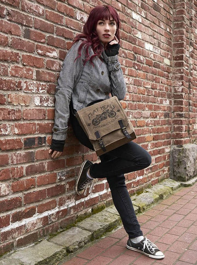 """Flat Head Motorcycle"" Vintage Field Bag by Trixie & Milo - www.inkedshop.com"