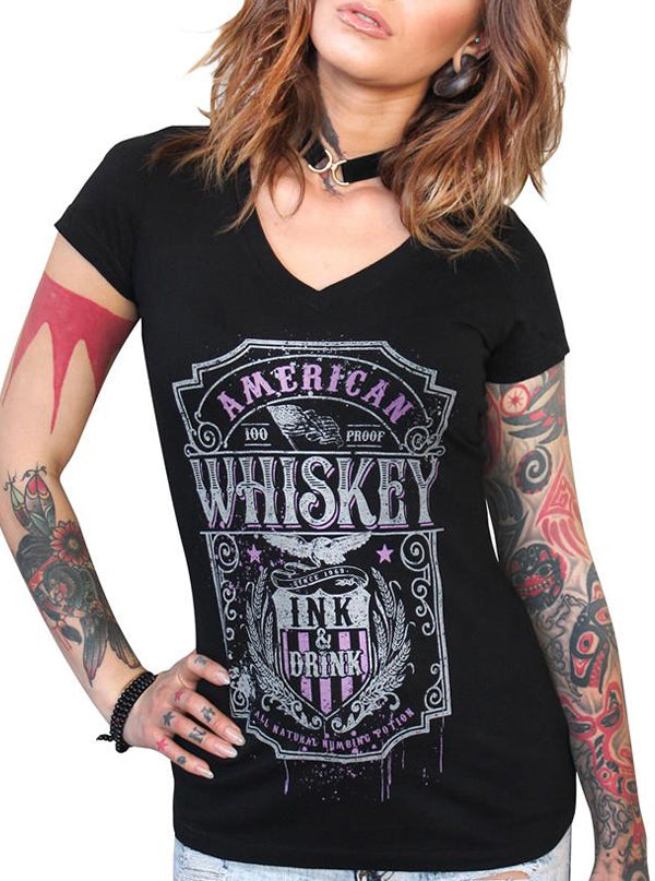Women's Whiskey V-Neck Tee by 7th Revolution