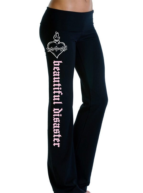 "Women's ""Wounded Hearts"" Yoga Pants by Beautiful Disaster (Black)"