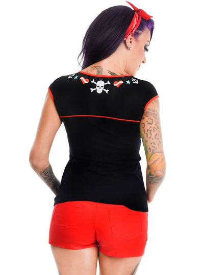"Women's ""Tattoo Flash"" Dame Tee by Too Fast (Black) - www.inkedshop.com"