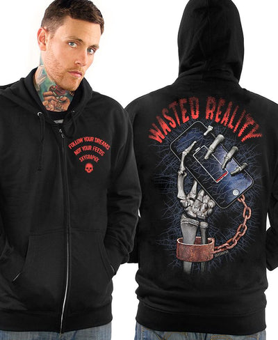 "Men's ""Wasted Reality"" Zip Up Hoodie by Skygraphx (Black)"