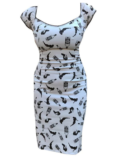 "Women's ""Whiskey Woman"" Josie Dress by Switchblade Stiletto (White) - www.inkedshop.com"