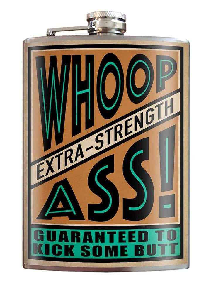 """Whoop Ass!"" Flask by Trixie & Milo - www.inkedshop.com"