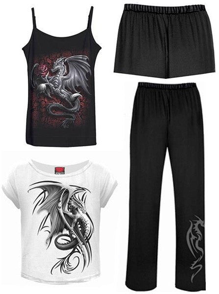 "Women's ""Wyvern"" 4Pc Gothic Pajama Set by Spiral USA (Black/White) - www.inkedshop.com"