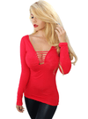 Women's Country Pinup Long Sleeve Slash Tee by Demi Loon (Siren Red)
