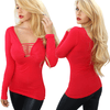 "Women's ""Country Pinup"" Long Sleeve Slash Tee by Demi Loon (Siren Red)"