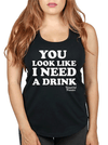 "Women's ""Need A Drink"" Racerback Tank by Beautiful Disaster (Black)"