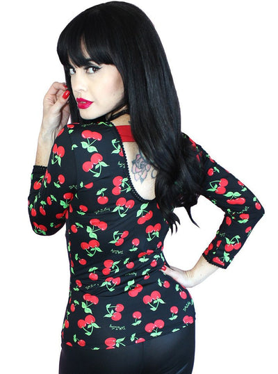 "Women's ""Cherry Sweetheart"" Logo Pinup Top by Demi Loon (Black) - www.inkedshop.com"