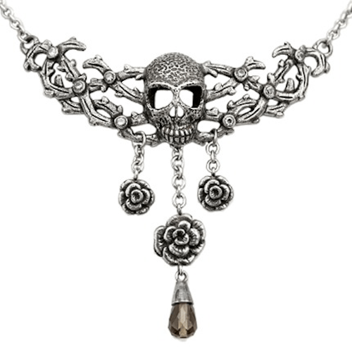 Blacken Skull and Roses Necklace by Controse - InkedShop - 1