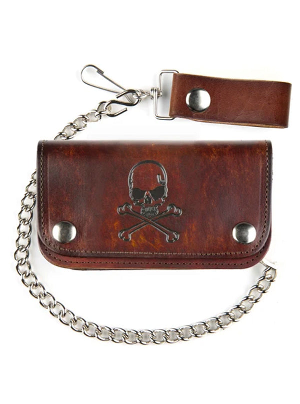 "Antique Finish Skull & Crossbones 6"" Biker Wallet"